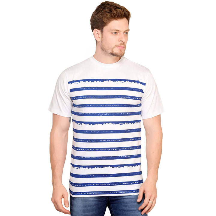 White Striped Half Sleeves T-Shirt