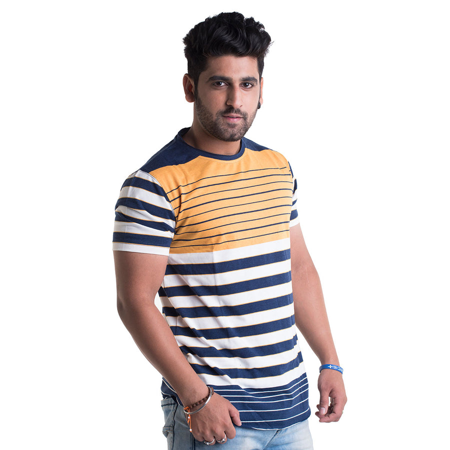 Striped Yellow Half Sleeves T-Shirt