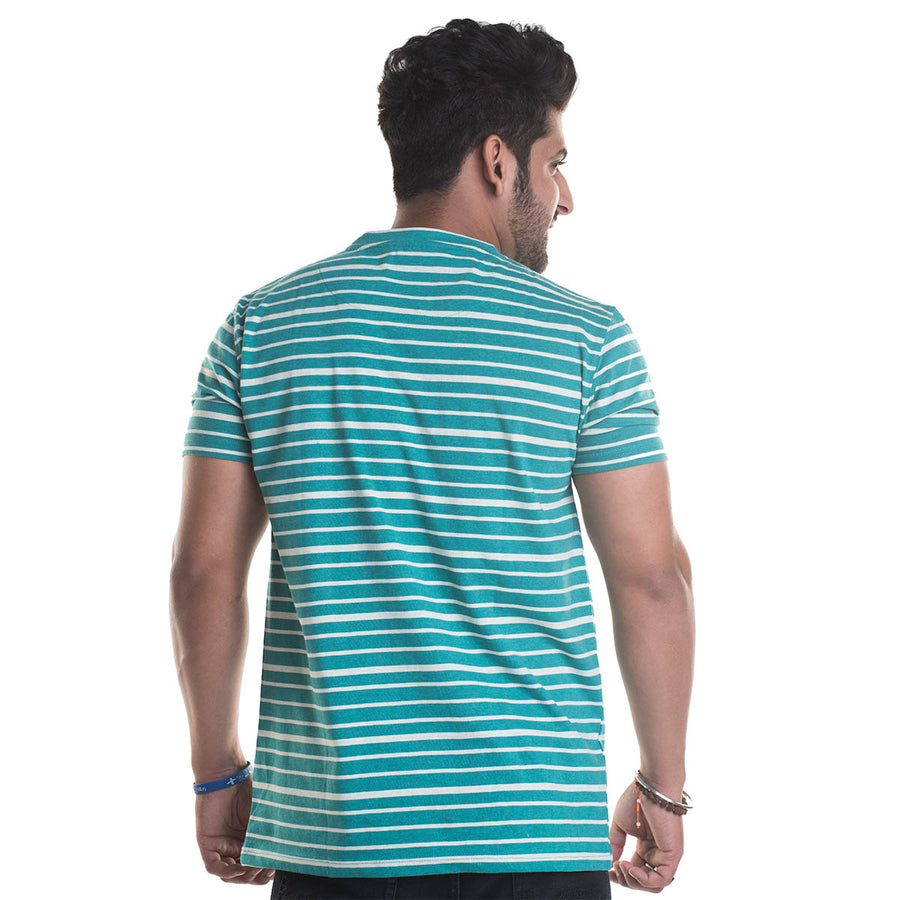 Striped Green Half Sleeves T-Shirt