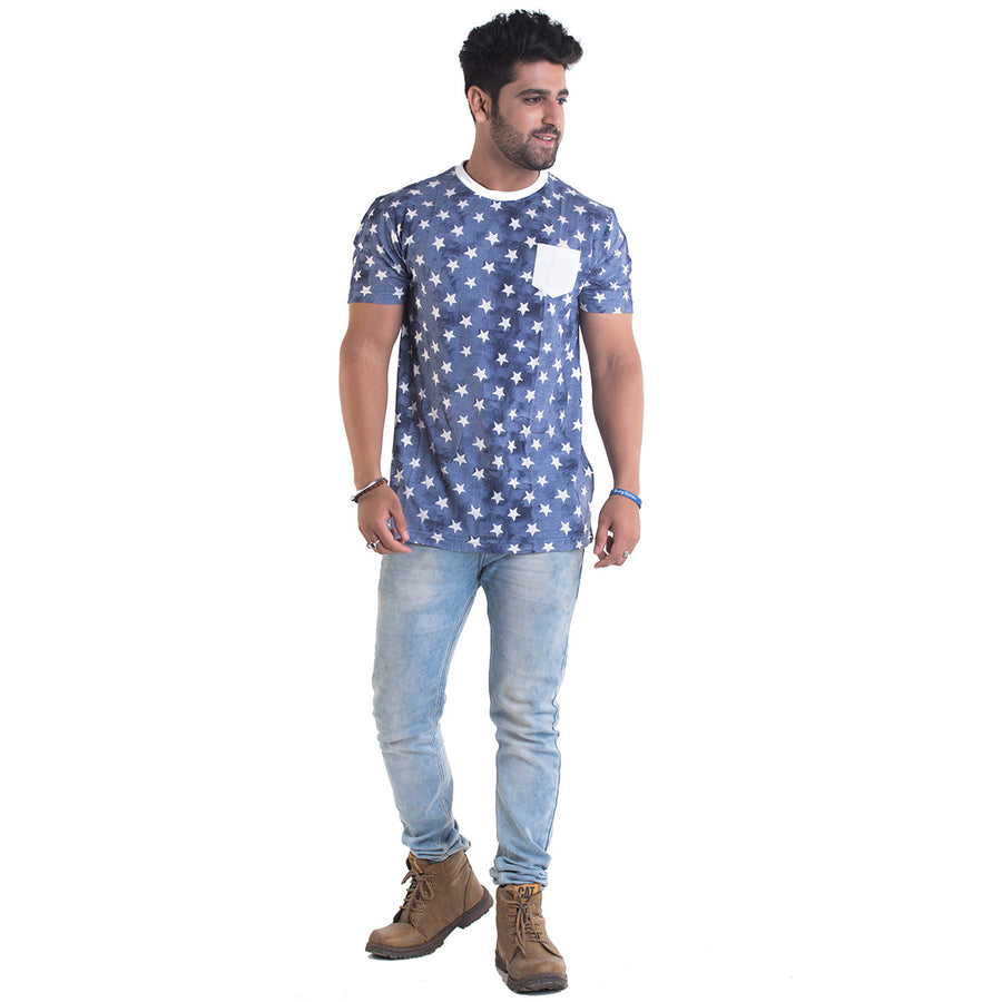 Star Printed Navy Blue Half Sleeves T-Shirt