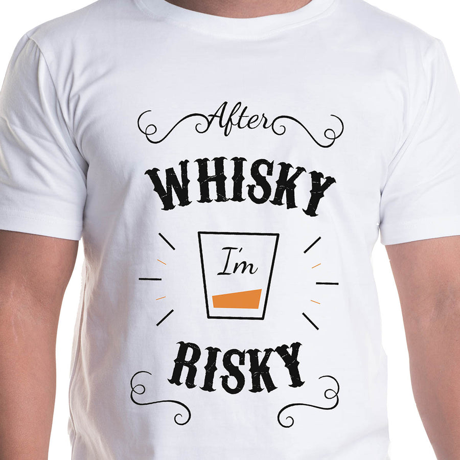 Whisky Printed White Half Sleeves T-Shirt