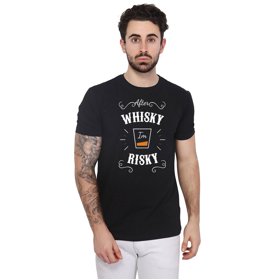 Whisky Printed Black Half Sleeves T-Shirt
