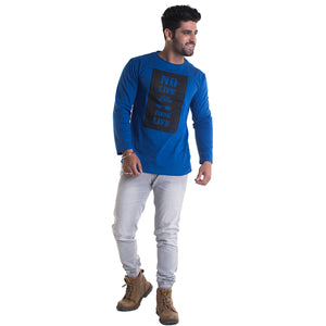 Thug Life Printed Royal Blue Full Sleeves T-Shirt