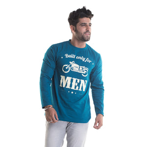 Bullet Printed Peacock Blue Full Sleeves T-Shirt