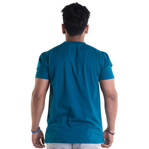 Bullet Printed Peacock Blue Half Sleeves T-Shirt