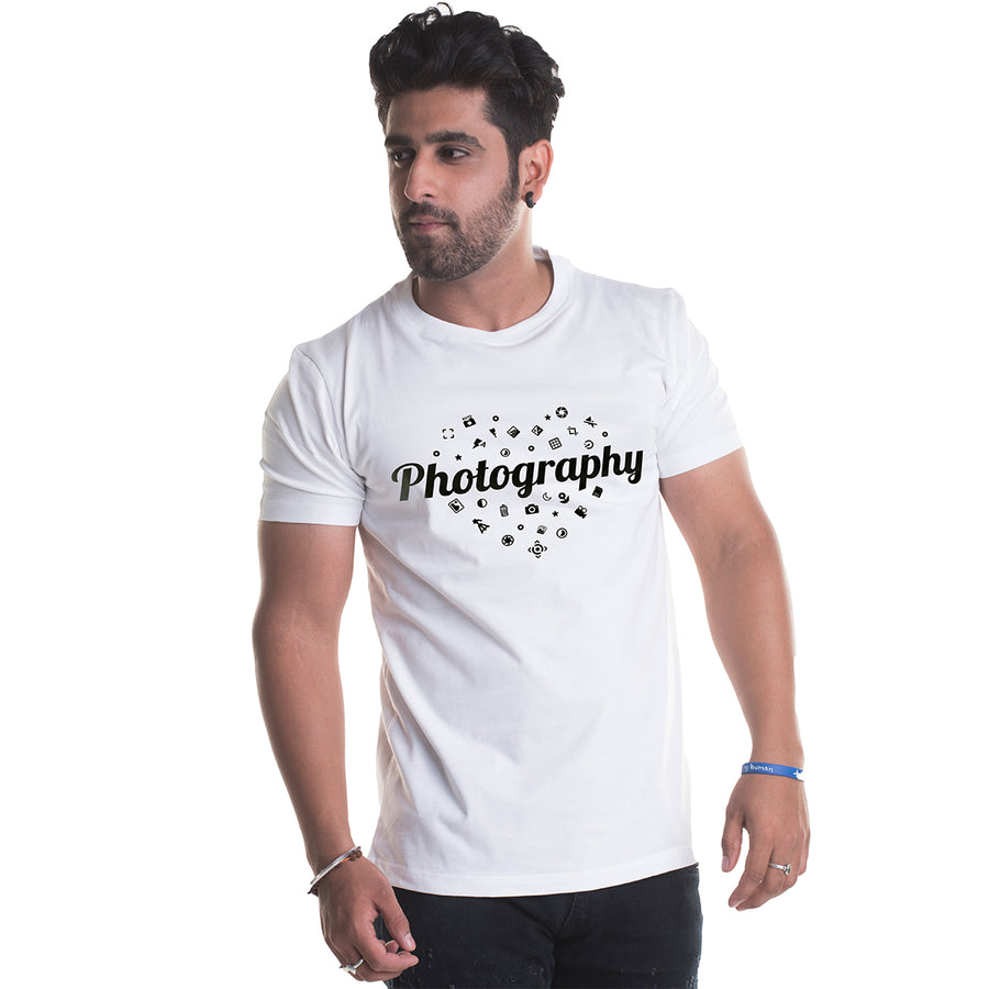 Photography Printed White Half Sleeves T-Shirt