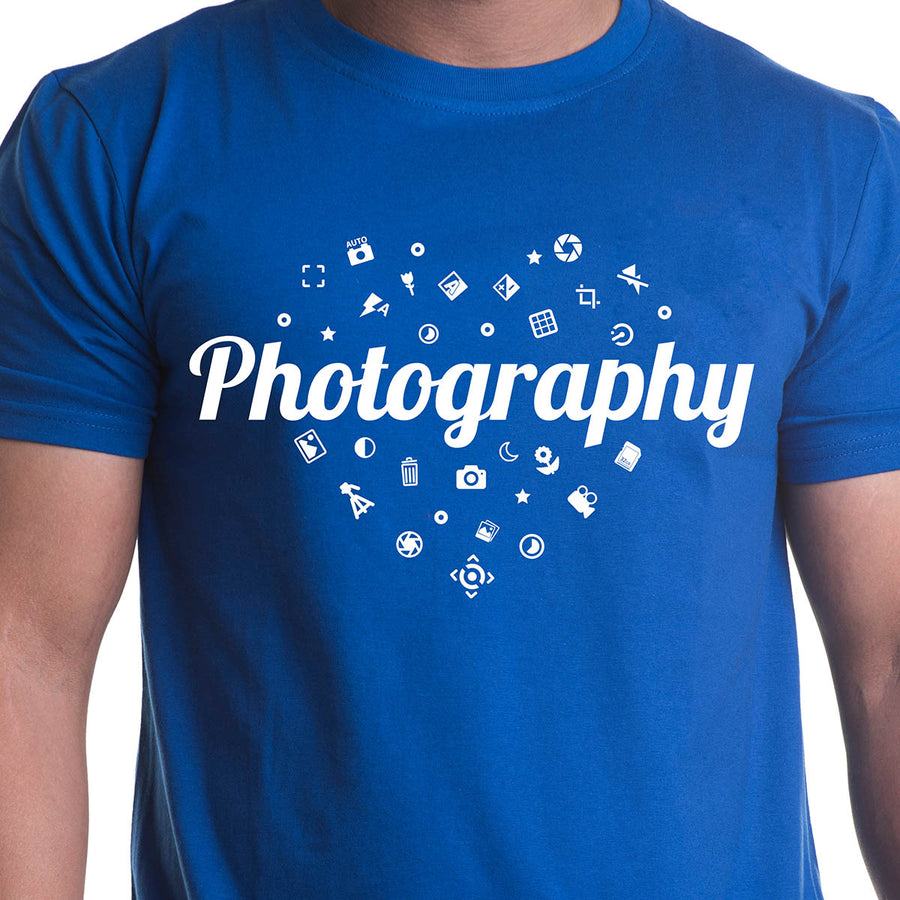 Photography Printed Royal Blue Half Sleeves T-Shirt