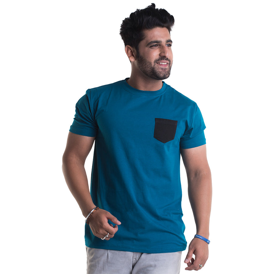 Plain Peacock Blue Half Sleeves T-Shirt