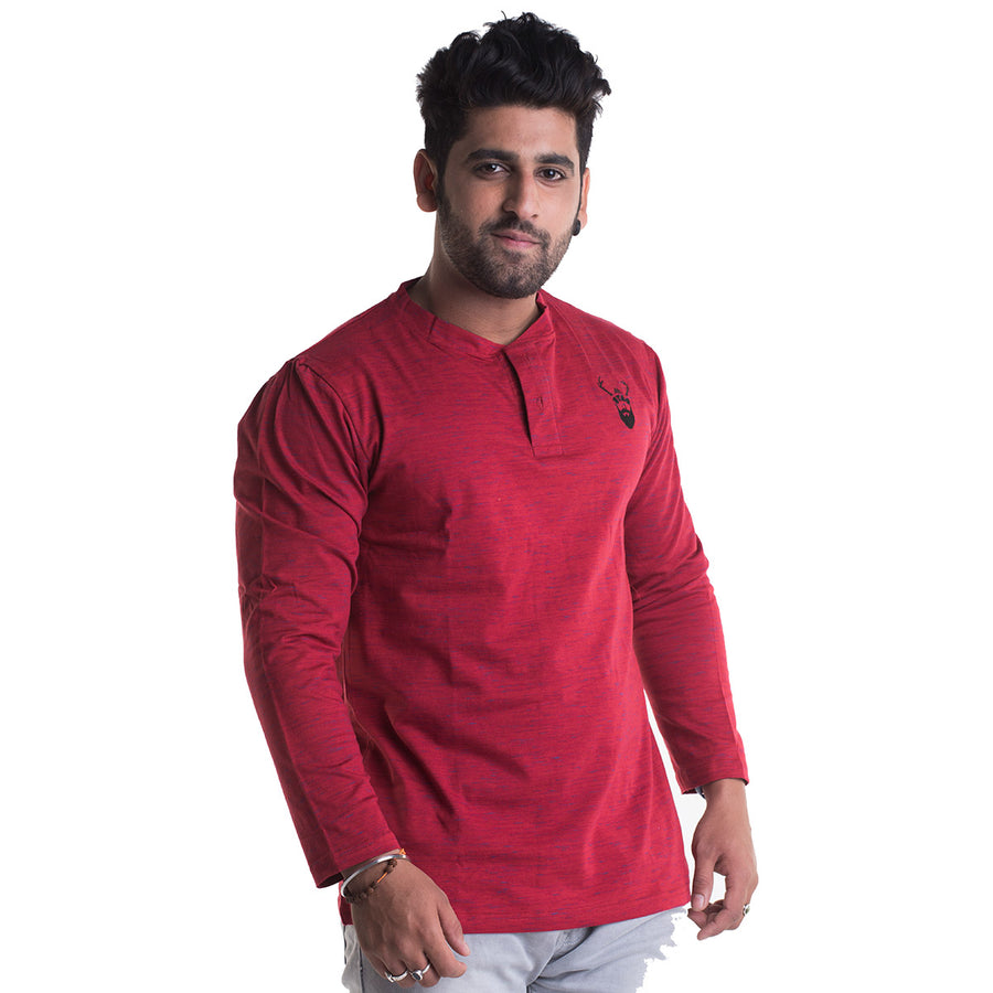 Slub Red Full Sleeves T-Shirt