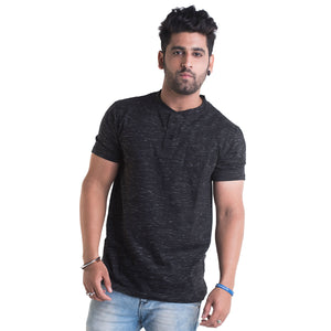 Slub Black Half Sleeves T-Shirt
