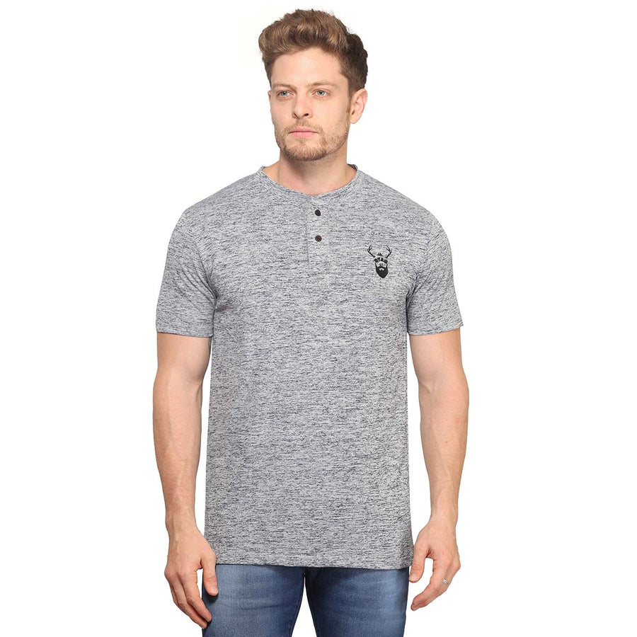 Slub Grey Half Sleeves T-Shirt