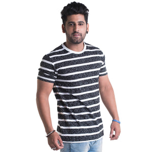 Striped Black Half Sleeves T-Shirt