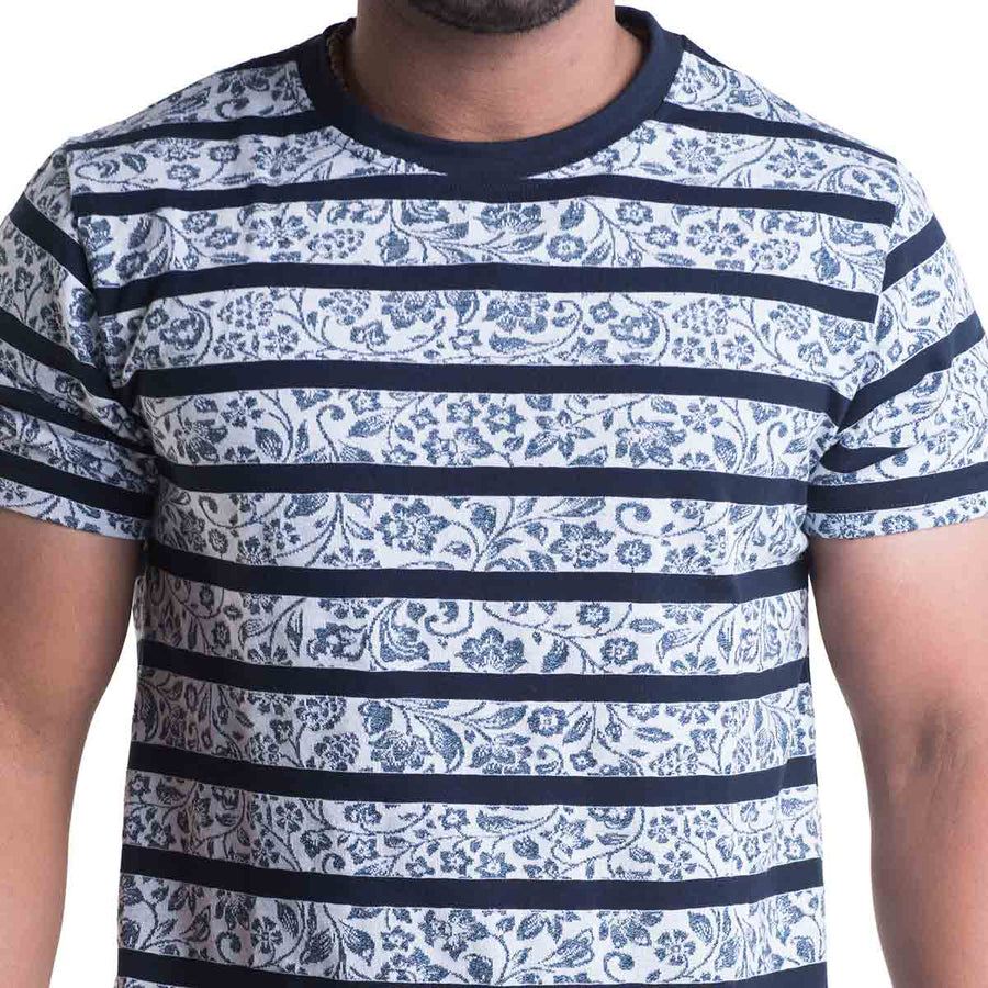 Striped Navy Blue Half Sleeves T-Shirt