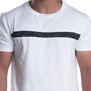 Striped White Half Sleeves T-Shirt
