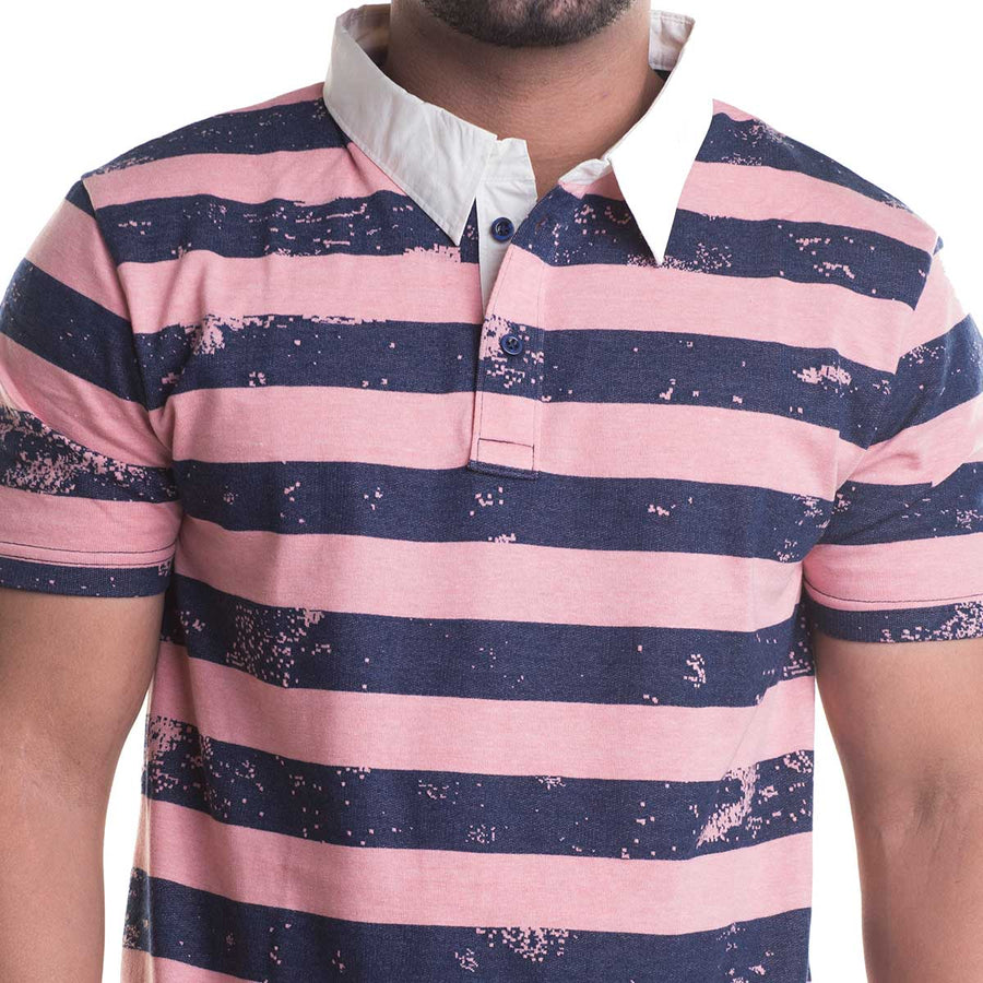 Striped Pink Half Sleeves T-Shirt