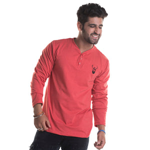 Plain Carrot Red Full Sleeves T-Shirt