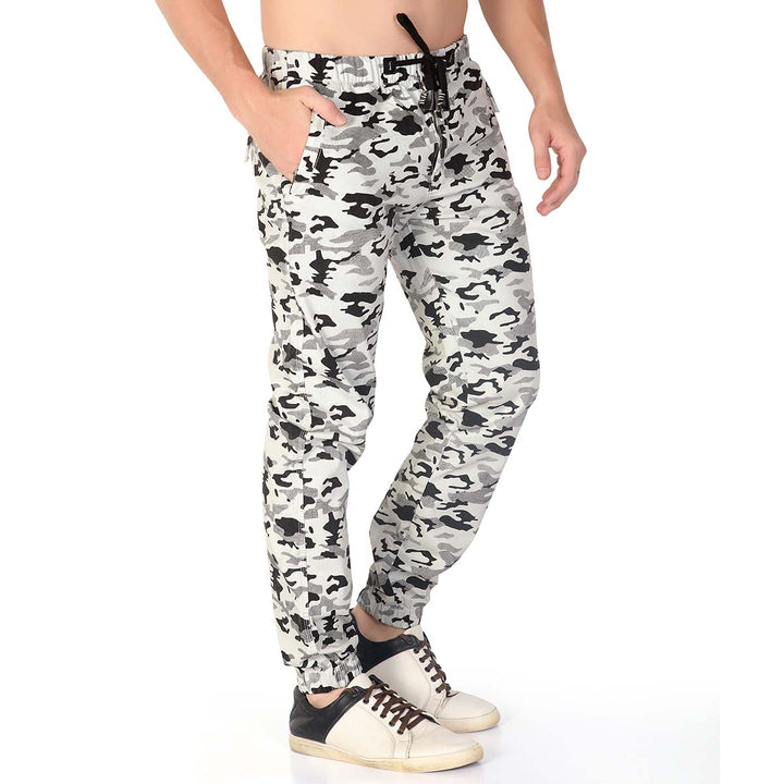 White Camouflage Joggers