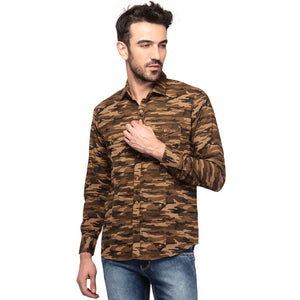 Camouflage Styled Slim Fit Cotton Casual Yellow Shirt