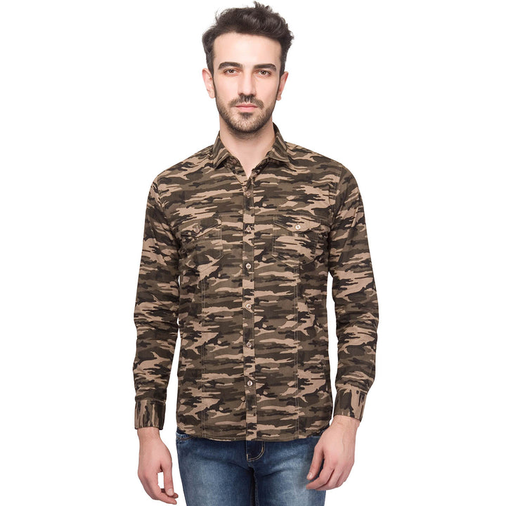 Camouflage Styled Slim Fit Cotton Casual Brown Shirt