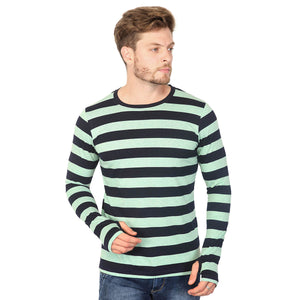 Navy Blue Striped Thumbhole T-Shirt