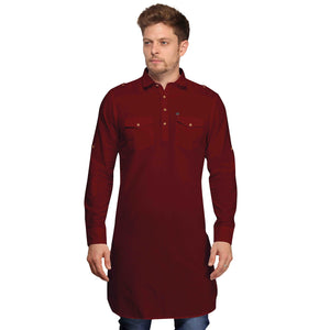 Maroon Full Sleeves Long Pathani Kurta