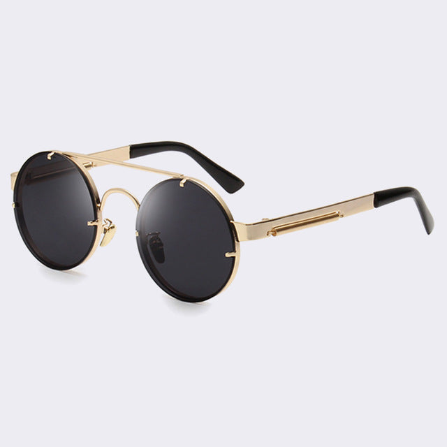 sampurchase Winla Vintage Steampunk Sunglasses Men Goggles Round Sunglasses Women Brand Design Metal Frame Twin-Beams Glasses Mirror Shades