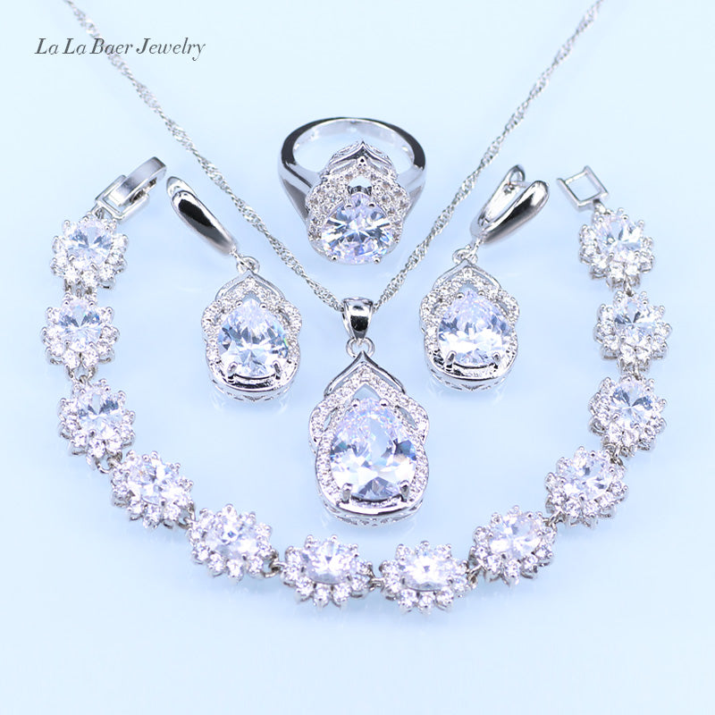 sampurchase L&B Australia Crystal Water Drop silver 925 Jewelry Sets For Women Bracelet/Earrings/Necklace/Pendant/Rings