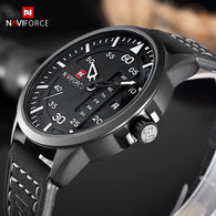 sampurchase NAVIFORCE Fashion Casual Mens Watches Top Brand Luxury Leather Business Quartz-Watch Men Wristwatch
