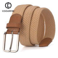 SAMPURCHSE Colors Men Women's Casual Knitted Belt Woven Canvas Elastic Stretch Belt  Plain Webbing Belt Metal Buckle Black MQ003