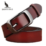 sampurchase SAN VITALE New Designer Fashion Women's Belts Genuine Leather Brand Straps Female Waistband Pin Buckles Fancy Vintage for Jeans