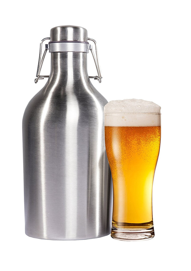 SAMPURCHASE Realand Premium 64OZ Stainless Steel Homebrew Beer Growler 1.9L Secure Swing Top Lid Craft Beer Bottle Saver Flip Cap BPA Free