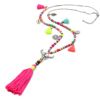 sampurchase VONNOR Jewelry Women Statement Necklace Bohemian Colorful Beads Shell Tassel Pendant Female Girls Long Necklace for Dress