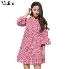 sampurchase Women oversized pleated plaid dress summer elegant checkered flare sleeve loose casual sweet dresses vestidos QZ2821