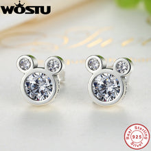 sampurchase Hot Selling 100% 925 Sterling Silver Cute Dazzling Mouse Stud Earrings For Women Girl Authentic Original Jewelry Gift XCHS457