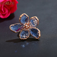 sampurchase KCALOE Luxury Blue Transparent Crystal Big Flowers Rings For Women Rhinestone Wedding Engagement Ring Fashion Jewelry Anel