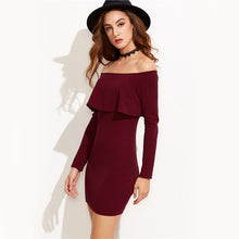 sampurchase COLROVIE Long Sleeve Mini Dress Womens Autumn Winter Dresses Women Sexy Party Burgundy Off Shoulder Ruffle Bodycon Dress