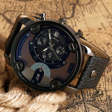 sampurchase Christmas Gift Modern Large Size Watches Men Date Quartz Watch Sports Wristwatch Military Luxury Leather Strap Big Male Clock
