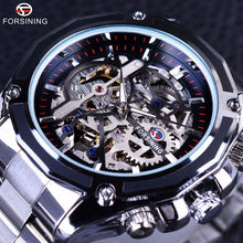 sampurchase Forsining Mechanical Steampunk Fashion Male Wristwatch Dress Men Watch Top Brand Luxury Stainless Steel Automatic Skeleton Watch