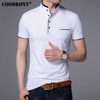sampurchase COODRONY Mandarin Collar Short Sleeve Tee Shirt Men 2017 Spring Summer New Top Men Brand Clothing Slim Fit Cotton T-Shirts S7645