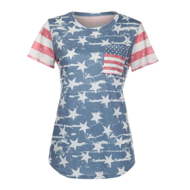 sampurchase 2017 Fashion Print American Flag Women Shirt Short Sleeve Harajuku Shirt Women Clothes 2XL Loose Summer Tops Camiseta Mujer#9021