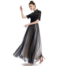 sampurchase SOCCI WEEKEND 2017 Muslim Retro Evening Dress Lace Embroidery Half Sleeve Built-In Bra Black Formal Evening Dress For Women