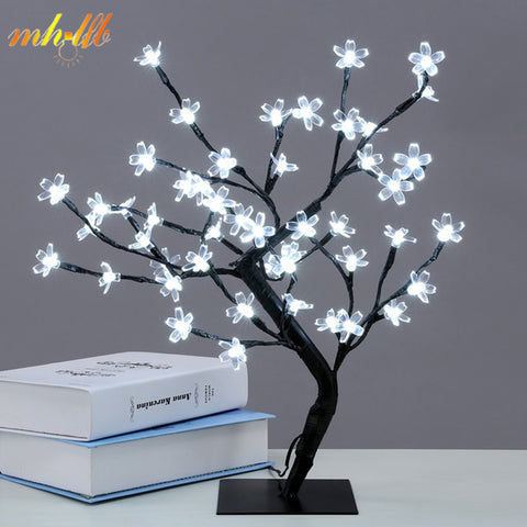 sampurchase Mini LED Crystal Cherry Blossom Tree Light Night Lights Table Lamp Christmas Fairy Wedding Decoration Indoor Lighting Luminarias
