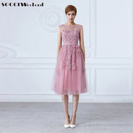 sampurchase SOCCI Tulle Lace Appliques Short Cocktail Dresses Zipper Back A-line Formal Wedding Party Dress Pearls Beading Reception Gowns