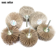 sampurchase 4 pieces 6mm shaft 85mm Abrasive Wire Grinding Wheel Nylon Bristle Brush for Wood Furniture Mahogany Polishing