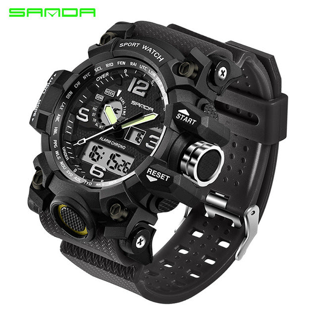 sampurchase 2017 SANDA Sports Watches Men Military army Watch Top Brand Luxury Date Calendar LED Digital Wristwatches Relogio Masculino