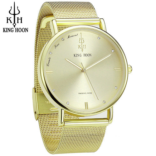 sampurchase KING HOON Women Watches Ultra Thin Stainless Steel Quartz Wrist watch Bracelet Rhinestones watch montre Femme clock watch women