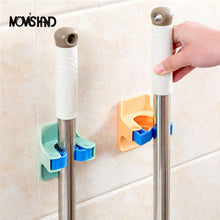 SAMPURCHASE MOM'S HAND 2pcs/lot Home Clip Mop Hooks No Trace Mop Holder Bathroom Rack