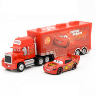 sampurchase  Disney Pixar Cars 2 Toys 2pcs Lightning McQueen Mack Truck The King 1:55 Diecast Metal Alloy Modle Figures Toys Gifts For Kids