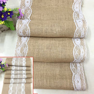 sampurchase Vintage Burlap Jute Linen Table Runner Lace Cloth Dinning Room Table Gadget Home Decor Accessory HG99