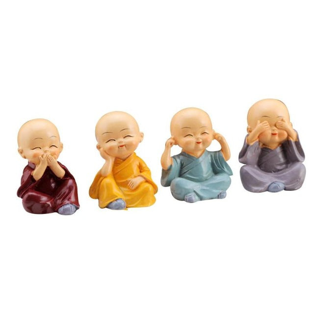 sampurchase 4pcs/set Kong Fu Little Monk Figurines Car Dolls Home Decor Desktop Shaolin Temple Monks Toys Car Accessories Ornament #ET